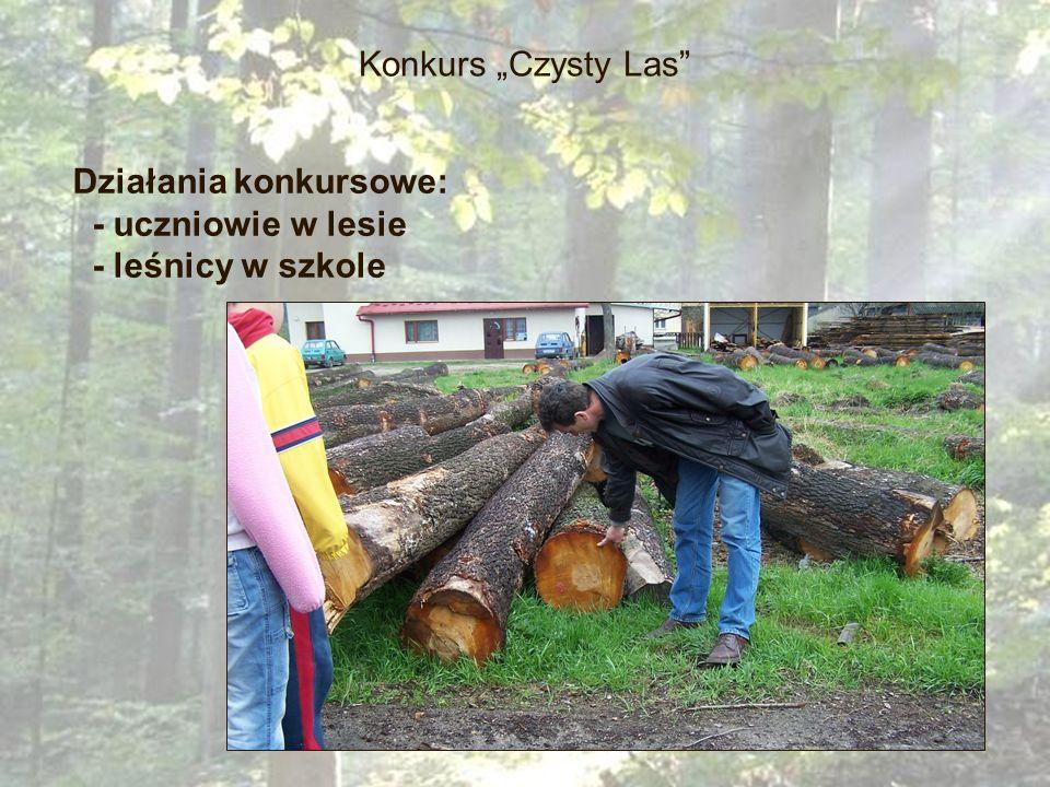 Konkurs Czysty Las Działania konkursowe: - uczniowie w lesie - leśnicy w szkole