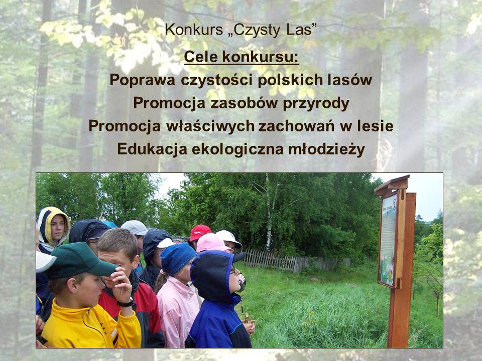 Konkurs Czysty Las Cele konkursu: Poprawa czystości polskich lasów Promocja zasobów przyrody Promocja właściwych zachowań w lesie Edukacja ekologiczna