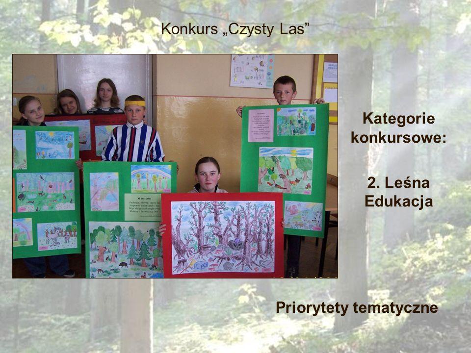 Konkurs Czysty Las Kategorie konkursowe: 2. Leśna Edukacja Priorytety tematyczne