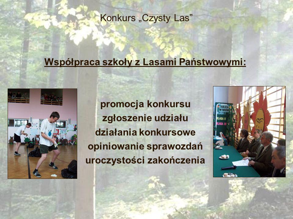 Konkurs Czysty Las Współpraca szkoły z Lasami Państwowymi: promocja konkursu zgłoszenie udziału działania konkursowe opiniowanie sprawozdań uroczystoś