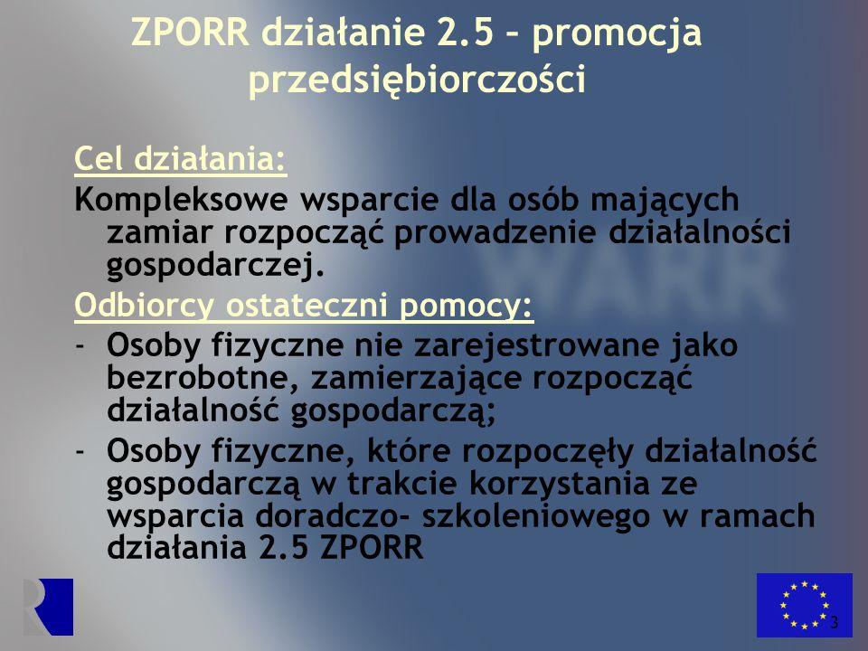 4 ZPORR działanie 2.5 – promocja przedsiębiorczości Rodzaje udzielanej pomocy: 1.