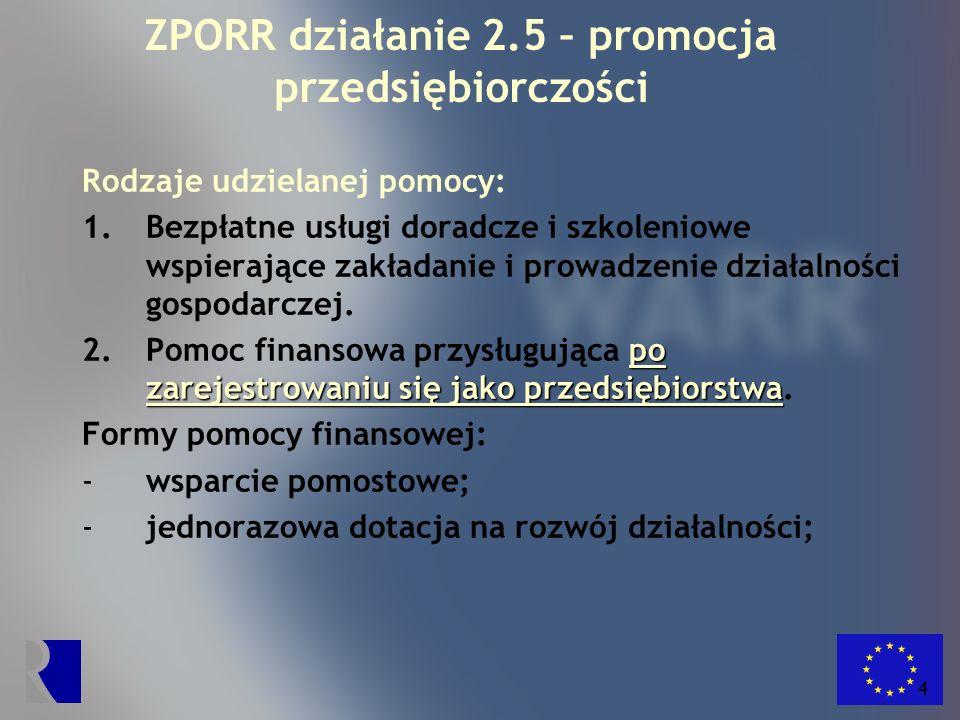 5 ZPORR działanie 2.5 – promocja przedsiębiorczości Formy wsparcia doradczo-szkoleniowego: 1.