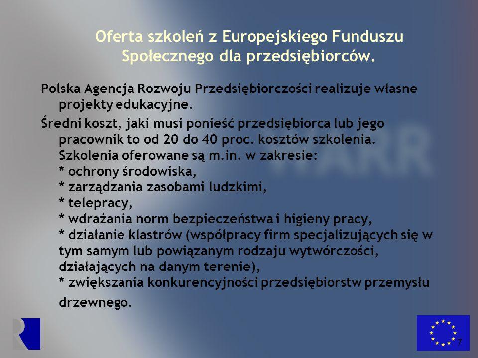 8 Oferta szkoleń z Europejskiego Funduszu Społecznego dla przedsiębiorców.