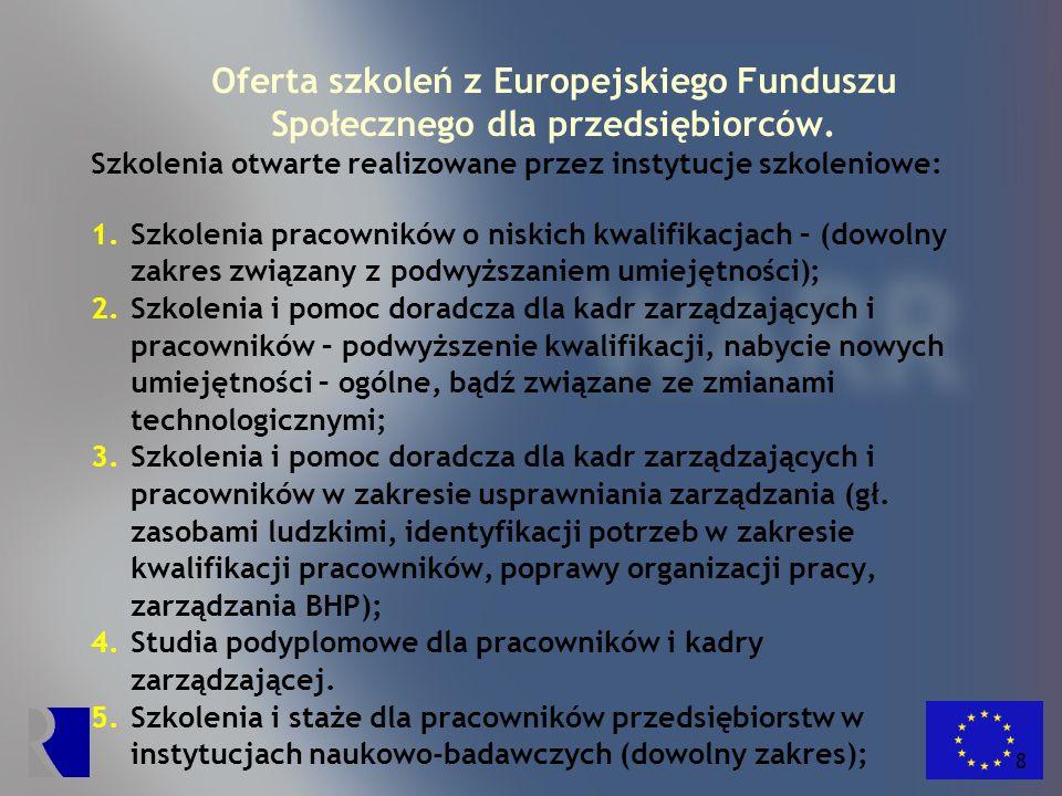 9 Oferta szkoleń z Europejskiego Funduszu Społecznego dla przedsiębiorców.