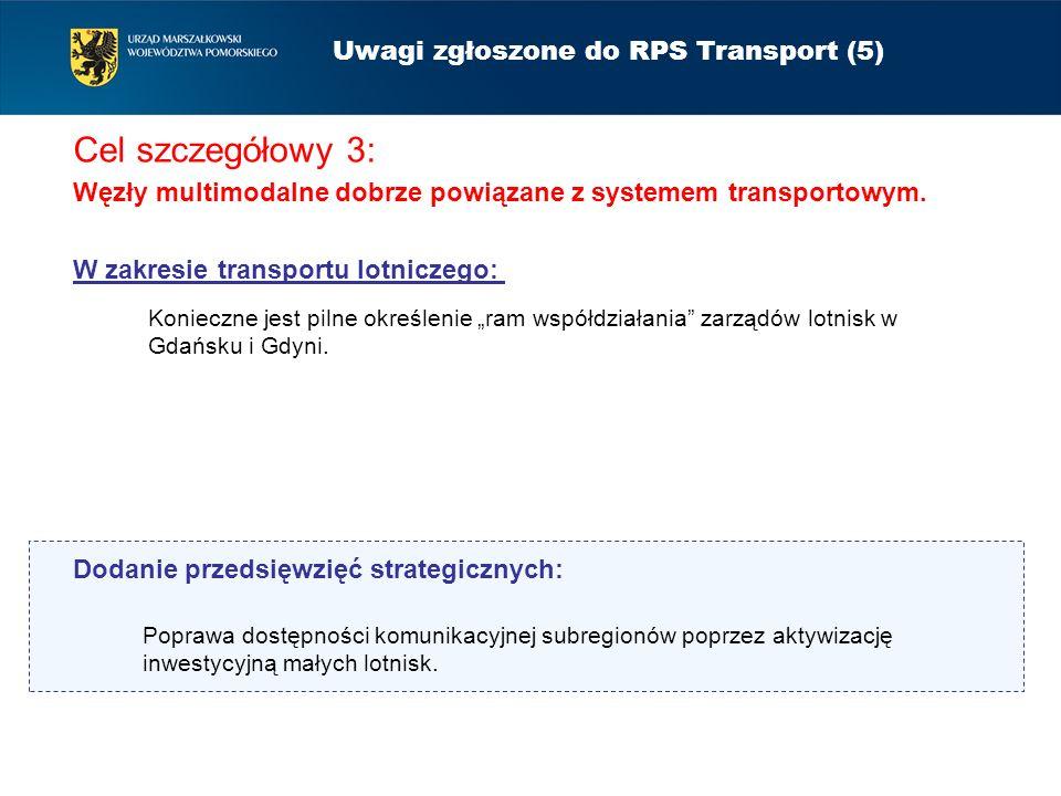Cel szczegółowy 3: Węzły multimodalne dobrze powiązane z systemem transportowym. Uwagi zgłoszone do RPS Transport (5) Konieczne jest pilne określenie