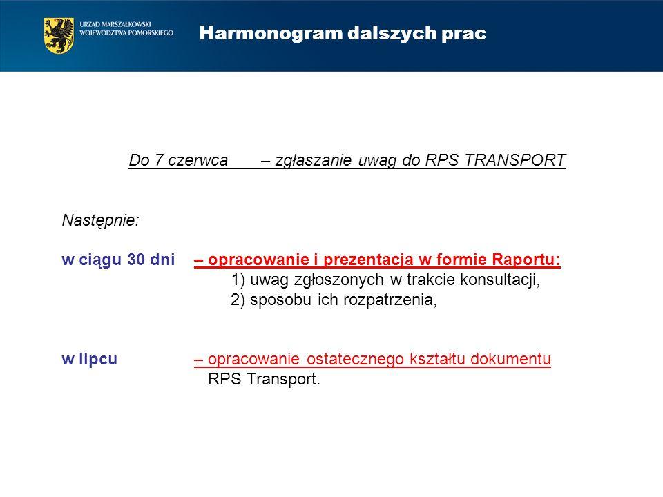 Harmonogram dalszych prac Do 7 czerwca – zgłaszanie uwag do RPS TRANSPORT Następnie: w ciągu 30 dni – opracowanie i prezentacja w formie Raportu: 1) u