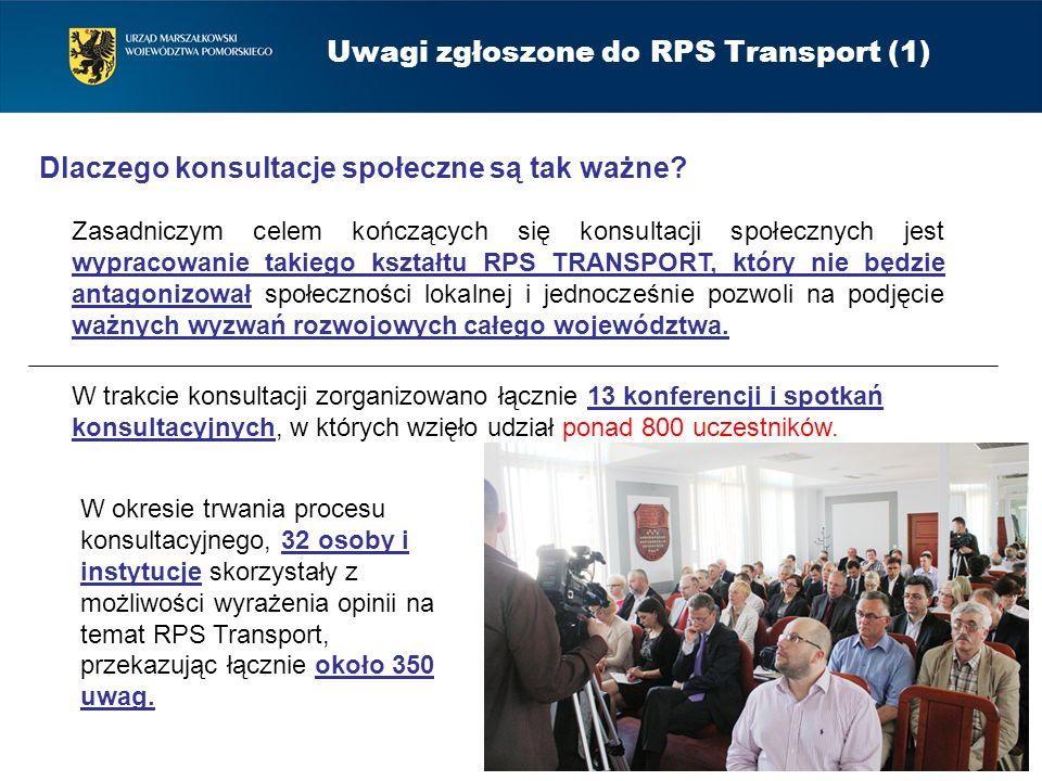 Uwagi zgłoszone do RPS Transport (1) Zasadniczym celem kończących się konsultacji społecznych jest wypracowanie takiego kształtu RPS TRANSPORT, który