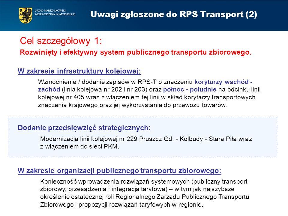 Cel szczegółowy 1: Rozwinięty i efektywny system publicznego transportu zbiorowego. Uwagi zgłoszone do RPS Transport (2) W zakresie infrastruktury kol