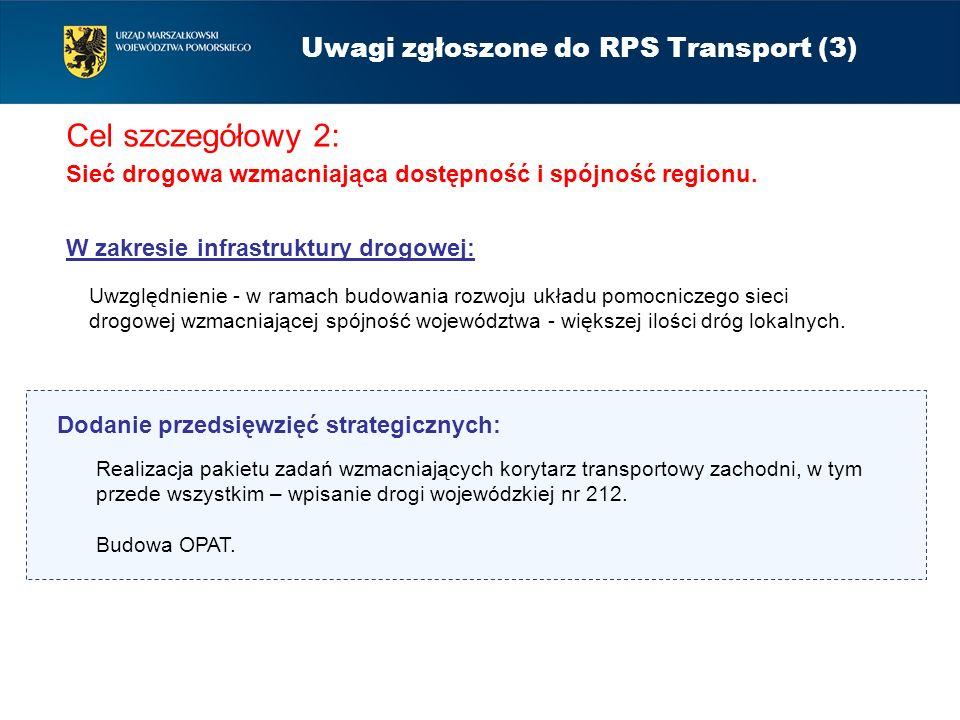 Cel szczegółowy 2: Sieć drogowa wzmacniająca dostępność i spójność regionu. Uwagi zgłoszone do RPS Transport (3) Uwzględnienie - w ramach budowania ro