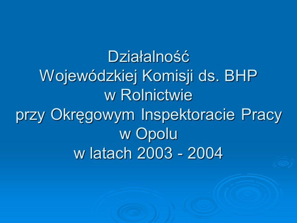 Działalność Wojewódzkiej Komisji ds. BHP w Rolnictwie przy Okręgowym Inspektoracie Pracy w Opolu w latach 2003 - 2004