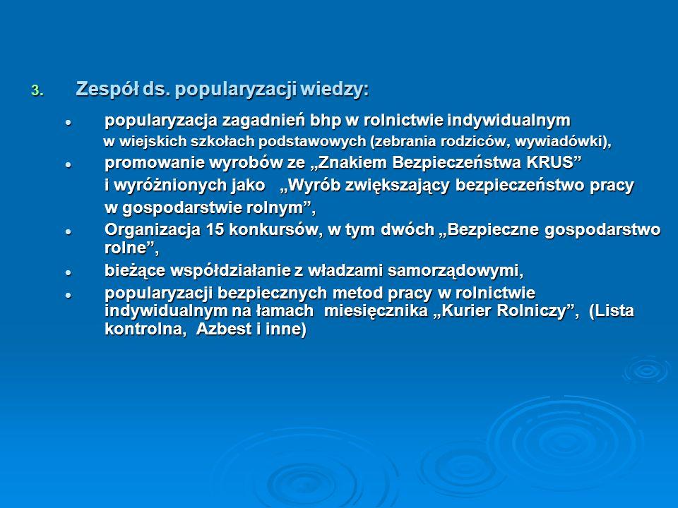3. Zespół ds. popularyzacji wiedzy: popularyzacja zagadnień bhp w rolnictwie indywidualnym popularyzacja zagadnień bhp w rolnictwie indywidualnym w wi