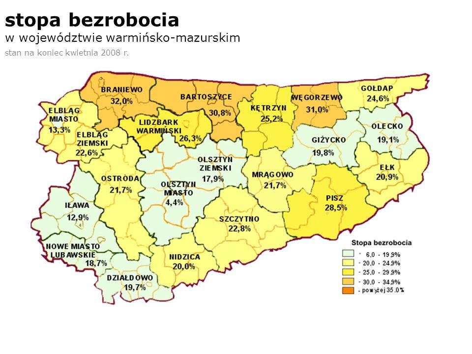 stopa bezrobocia w województwie warmińsko-mazurskim stan na koniec kwietnia 2008 r.