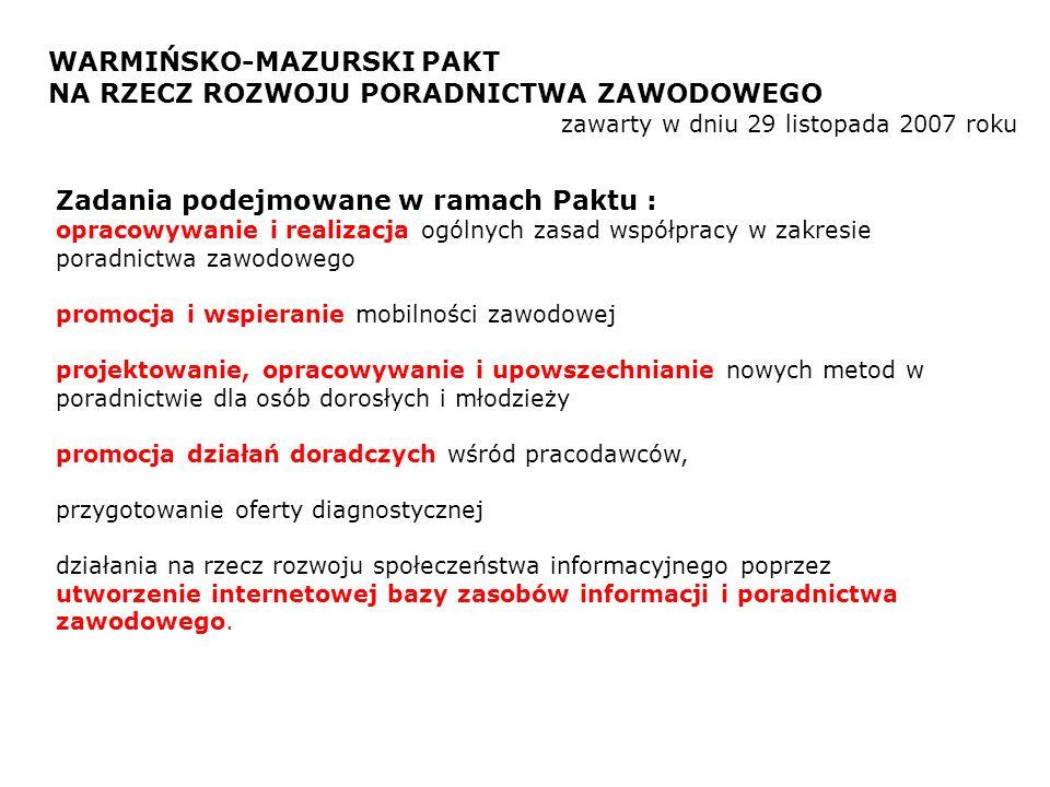 WUP w Olsztynie, Warmińsko-Mazurskie Kuratorium Oświaty, Centra Pomocy Rodzinie, powiatowe urzędy pracy, instytucje szkoleniowe.