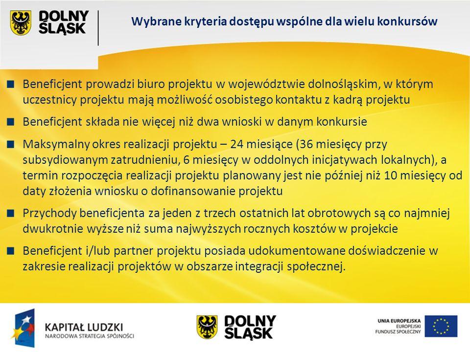Wydział EFS Wrocław, sierpień 200 Wybrane kryteria dostępu wspólne dla wielu konkursów Beneficjent prowadzi biuro projektu w województwie dolnośląskim, w którym uczestnicy projektu mają możliwość osobistego kontaktu z kadrą projektu Beneficjent składa nie więcej niż dwa wnioski w danym konkursie Maksymalny okres realizacji projektu – 24 miesiące (36 miesięcy przy subsydiowanym zatrudnieniu, 6 miesięcy w oddolnych inicjatywach lokalnych), a termin rozpoczęcia realizacji projektu planowany jest nie później niż 10 miesięcy od daty złożenia wniosku o dofinansowanie projektu Przychody beneficjenta za jeden z trzech ostatnich lat obrotowych są co najmniej dwukrotnie wyższe niż suma najwyższych rocznych kosztów w projekcie Beneficjent i/lub partner projektu posiada udokumentowane doświadczenie w zakresie realizacji projektów w obszarze integracji społecznej.