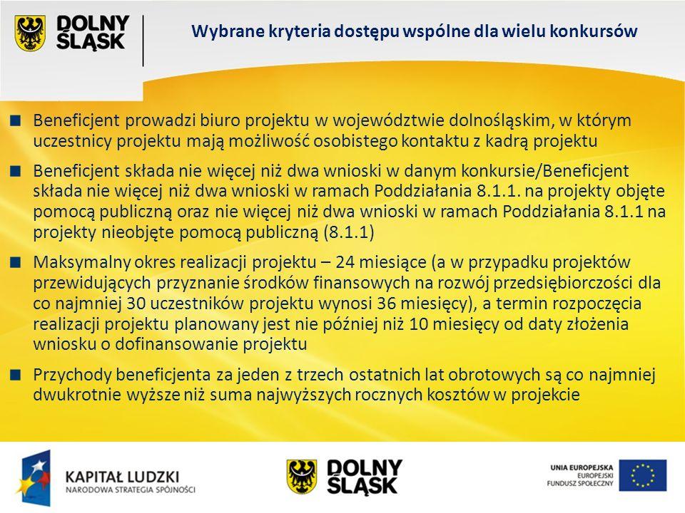 Wydział EFS Wrocław, sierpień 200 Wybrane kryteria dostępu wspólne dla wielu konkursów Beneficjent prowadzi biuro projektu w województwie dolnośląskim, w którym uczestnicy projektu mają możliwość osobistego kontaktu z kadrą projektu Beneficjent składa nie więcej niż dwa wnioski w danym konkursie/Beneficjent składa nie więcej niż dwa wnioski w ramach Poddziałania 8.1.1.