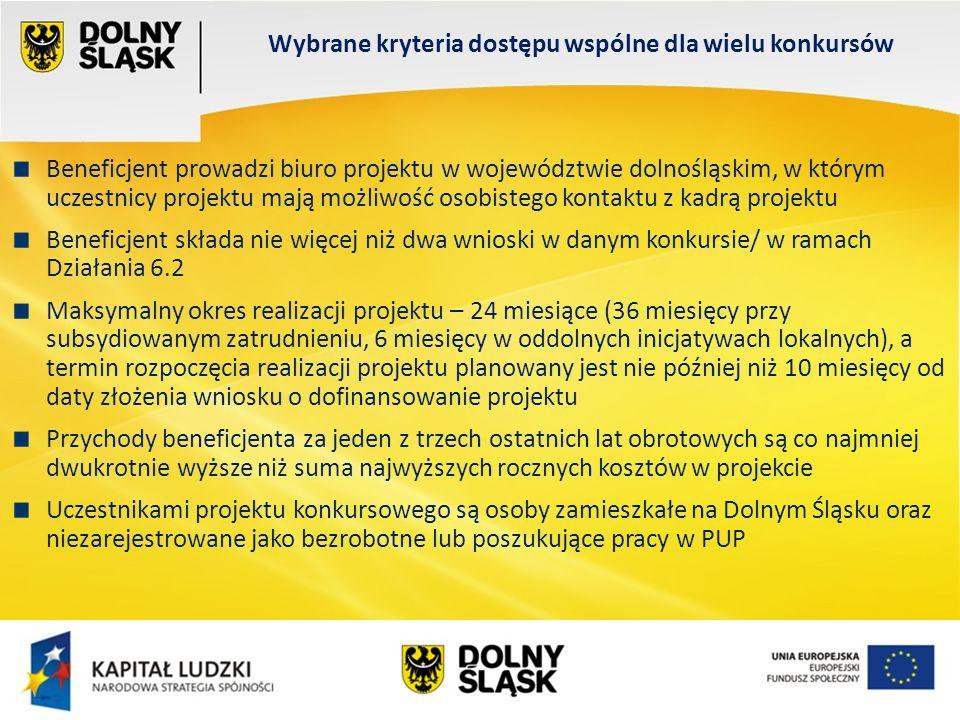 Wydział EFS Wrocław, sierpień 200 Wybrane kryteria dostępu wspólne dla wielu konkursów Beneficjent prowadzi biuro projektu w województwie dolnośląskim, w którym uczestnicy projektu mają możliwość osobistego kontaktu z kadrą projektu Beneficjent składa nie więcej niż dwa wnioski w danym konkursie/ w ramach Działania 6.2 Maksymalny okres realizacji projektu – 24 miesiące (36 miesięcy przy subsydiowanym zatrudnieniu, 6 miesięcy w oddolnych inicjatywach lokalnych), a termin rozpoczęcia realizacji projektu planowany jest nie później niż 10 miesięcy od daty złożenia wniosku o dofinansowanie projektu Przychody beneficjenta za jeden z trzech ostatnich lat obrotowych są co najmniej dwukrotnie wyższe niż suma najwyższych rocznych kosztów w projekcie Uczestnikami projektu konkursowego są osoby zamieszkałe na Dolnym Śląsku oraz niezarejestrowane jako bezrobotne lub poszukujące pracy w PUP