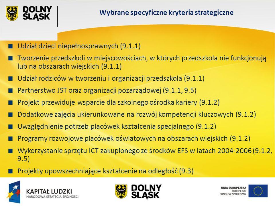 Wydział EFS Wrocław, sierpień 200 Udział dzieci niepełnosprawnych (9.1.1) Tworzenie przedszkoli w miejscowościach, w których przedszkola nie funkcjonują lub na obszarach wiejskich (9.1.1) Udział rodziców w tworzeniu i organizacji przedszkola (9.1.1) Partnerstwo JST oraz organizacji pozarządowej (9.1.1, 9.5) Projekt przewiduje wsparcie dla szkolnego ośrodka kariery (9.1.2) Dodatkowe zajęcia ukierunkowane na rozwój kompetencji kluczowych (9.1.2) Uwzględnienie potrzeb placówek kształcenia specjalnego (9.1.2) Programy rozwojowe placówek oświatowych na obszarach wiejskich (9.1.2) Wykorzystanie sprzętu ICT zakupionego ze środków EFS w latach 2004-2006 (9.1.2, 9.5) Projekty upowszechniające kształcenie na odległość (9.3) Wybrane specyficzne kryteria strategiczne