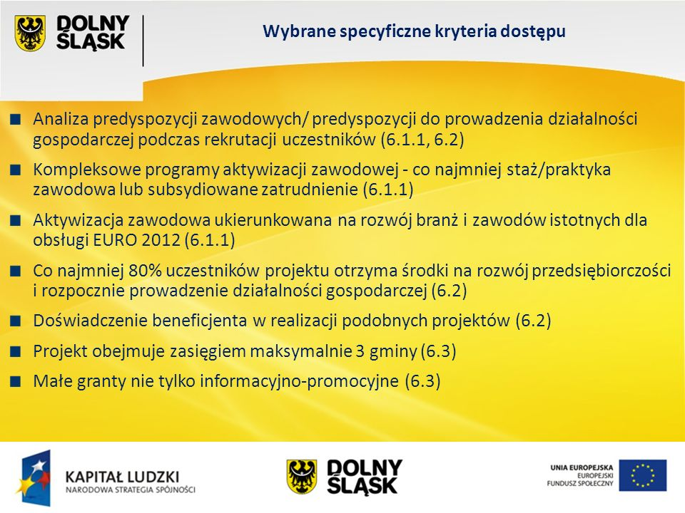Wydział EFS Wrocław, sierpień 200 Analiza predyspozycji zawodowych/ predyspozycji do prowadzenia działalności gospodarczej podczas rekrutacji uczestników (6.1.1, 6.2) Kompleksowe programy aktywizacji zawodowej - co najmniej staż/praktyka zawodowa lub subsydiowane zatrudnienie (6.1.1) Aktywizacja zawodowa ukierunkowana na rozwój branż i zawodów istotnych dla obsługi EURO 2012 (6.1.1) Co najmniej 80% uczestników projektu otrzyma środki na rozwój przedsiębiorczości i rozpocznie prowadzenie działalności gospodarczej (6.2) Doświadczenie beneficjenta w realizacji podobnych projektów (6.2) Projekt obejmuje zasięgiem maksymalnie 3 gminy (6.3) Małe granty nie tylko informacyjno-promocyjne (6.3) Wybrane specyficzne kryteria dostępu