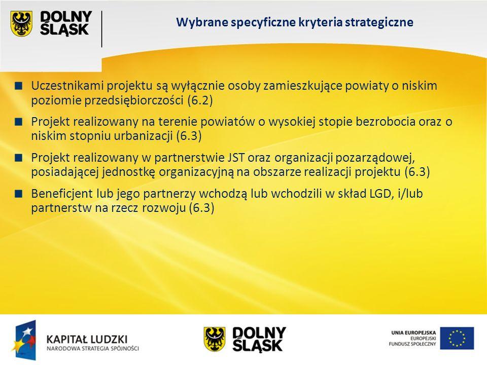 Wydział EFS Wrocław, sierpień 200 Uczestnikami projektu są wyłącznie osoby zamieszkujące powiaty o niskim poziomie przedsiębiorczości (6.2) Projekt realizowany na terenie powiatów o wysokiej stopie bezrobocia oraz o niskim stopniu urbanizacji (6.3) Projekt realizowany w partnerstwie JST oraz organizacji pozarządowej, posiadającej jednostkę organizacyjną na obszarze realizacji projektu (6.3) Beneficjent lub jego partnerzy wchodzą lub wchodzili w skład LGD, i/lub partnerstw na rzecz rozwoju (6.3) Wybrane specyficzne kryteria strategiczne