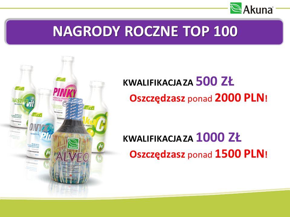 NAGRODY ROCZNE TOP 100 KWALIFIKACJA ZA 500 ZŁ Oszczędzasz ponad 2000 PLN .