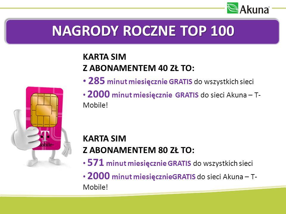 NAGRODY ROCZNE TOP 100 KARTA SIM Z ABONAMENTEM 40 ZŁ TO: 285 minut miesięcznie GRATIS do wszystkich sieci 2000 minut miesięcznie GRATIS do sieci Akuna – T- Mobile.