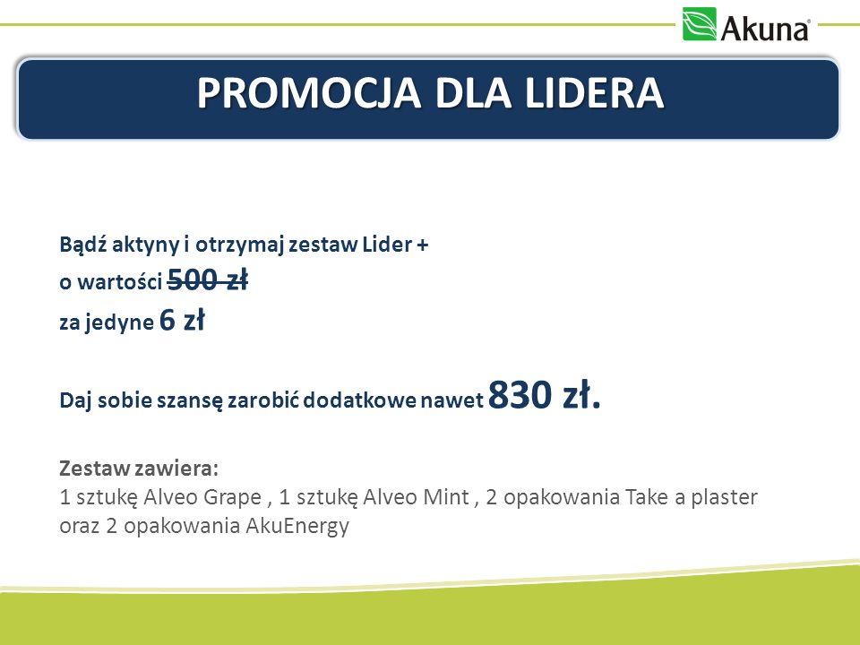 PROMOCJA DLA LIDERA Bądź aktyny i otrzymaj zestaw Lider + o wartości 500 zł za jedyne 6 zł Daj sobie szansę zarobić dodatkowe nawet 830 zł.
