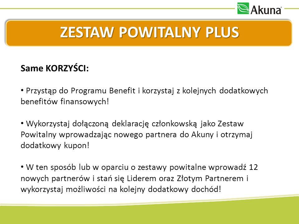 ZESTAW POWITALNY PLUS Same KORZYŚCI: Przystąp do Programu Benefit i korzystaj z kolejnych dodatkowych benefitów finansowych.
