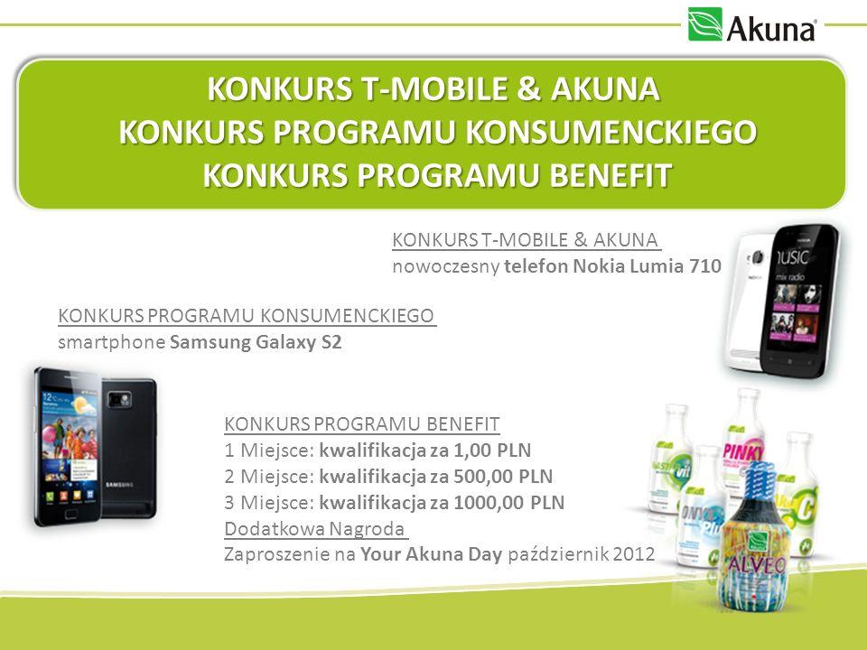 KONKURS T-MOBILE & AKUNA KONKURS PROGRAMU KONSUMENCKIEGO KONKURS PROGRAMU KONSUMENCKIEGO KONKURS PROGRAMU BENEFIT KONKURS PROGRAMU BENEFIT KONKURS T-MOBILE & AKUNA nowoczesny telefon Nokia Lumia 710 KONKURS PROGRAMU BENEFIT 1 Miejsce: kwalifikacja za 1,00 PLN 2 Miejsce: kwalifikacja za 500,00 PLN 3 Miejsce: kwalifikacja za 1000,00 PLN Dodatkowa Nagroda Zaproszenie na Your Akuna Day październik 2012 KONKURS PROGRAMU KONSUMENCKIEGO smartphone Samsung Galaxy S2