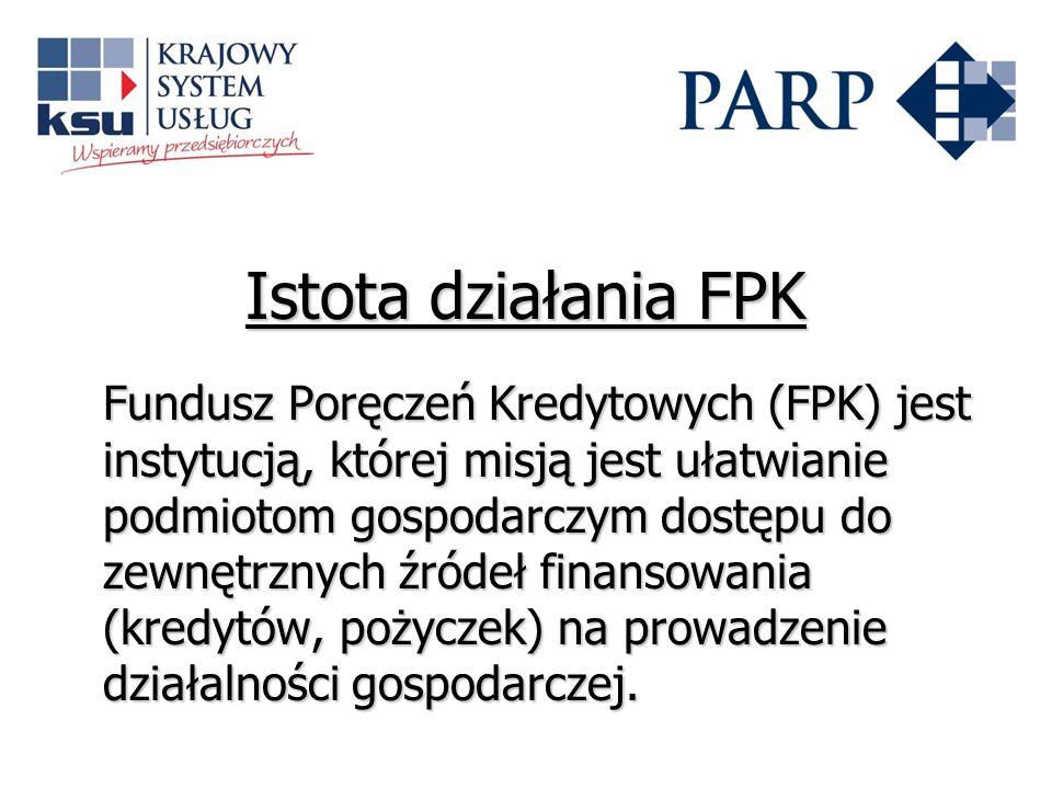 Istota działania FPK Fundusz Poręczeń Kredytowych (FPK) jest instytucją, której misją jest ułatwianie podmiotom gospodarczym dostępu do zewnętrznych źródeł finansowania (kredytów, pożyczek) na prowadzenie działalności gospodarczej.