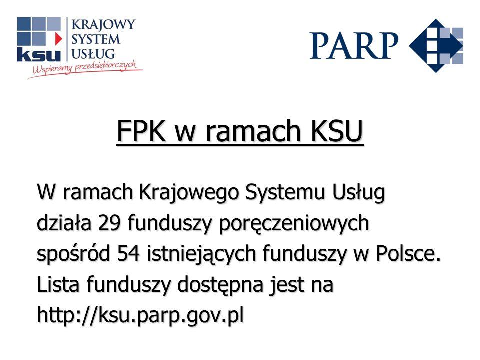 FPK w ramach KSU W ramach Krajowego Systemu Usług działa 29 funduszy poręczeniowych spośród 54 istniejących funduszy w Polsce. Lista funduszy dostępna