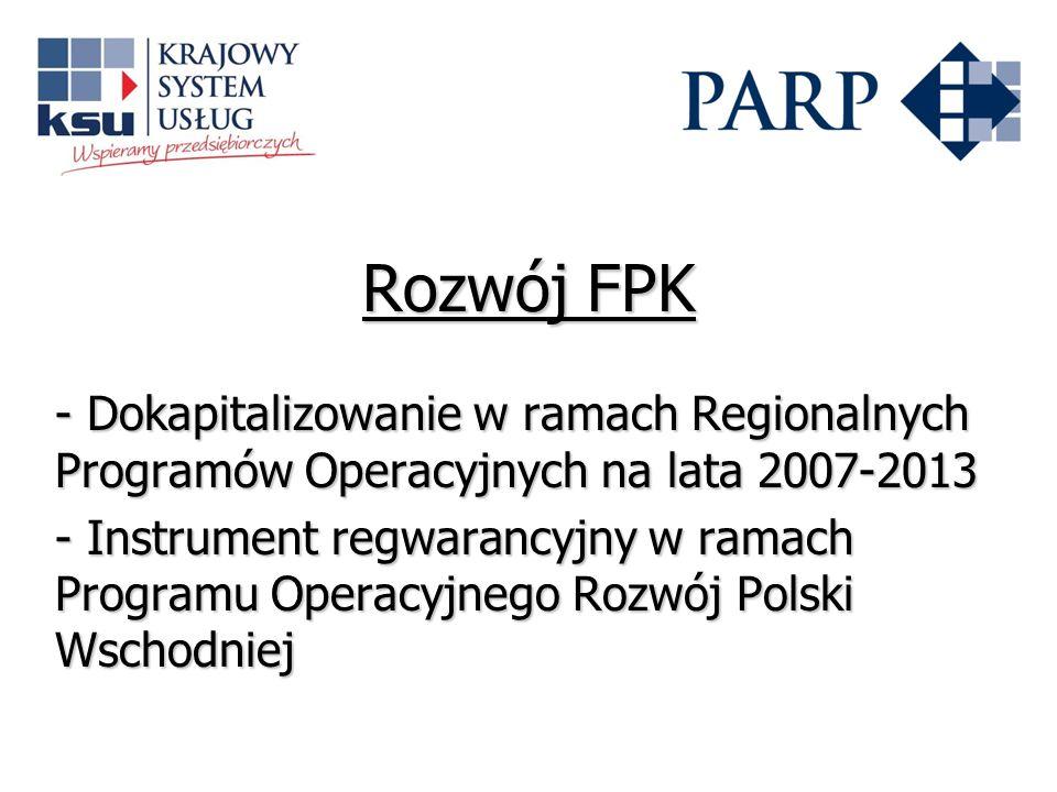 Rozwój FPK - Dokapitalizowanie w ramach Regionalnych Programów Operacyjnych na lata 2007-2013 - Instrument regwarancyjny w ramach Programu Operacyjneg