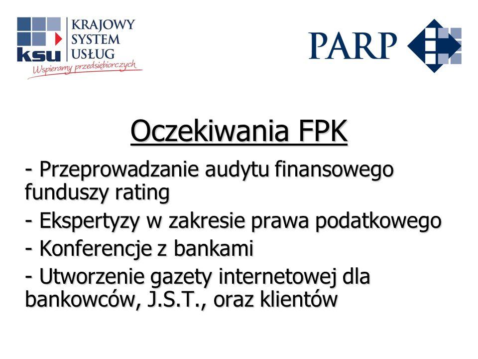 Oczekiwania FPK - Przeprowadzanie audytu finansowego funduszy rating - Ekspertyzy w zakresie prawa podatkowego - Konferencje z bankami - Utworzenie ga