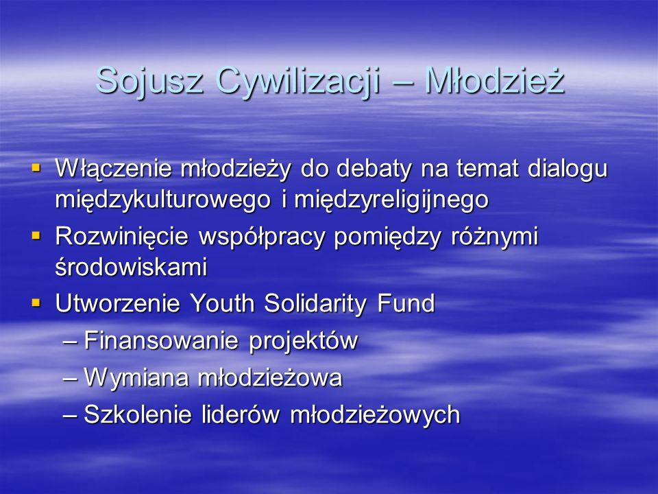 Sojusz Cywilizacji – Młodzież Włączenie młodzieży do debaty na temat dialogu międzykulturowego i międzyreligijnego Włączenie młodzieży do debaty na te