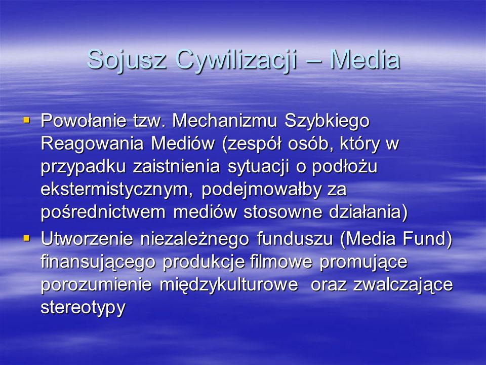 Sojusz Cywilizacji – Media Powołanie tzw. Mechanizmu Szybkiego Reagowania Mediów (zespół osób, który w przypadku zaistnienia sytuacji o podłożu ekster