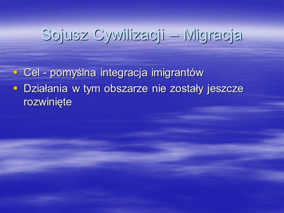 Sojusz Cywilizacji – Migracja Cel - pomyślna integracja imigrantów Cel - pomyślna integracja imigrantów Działania w tym obszarze nie zostały jeszcze r