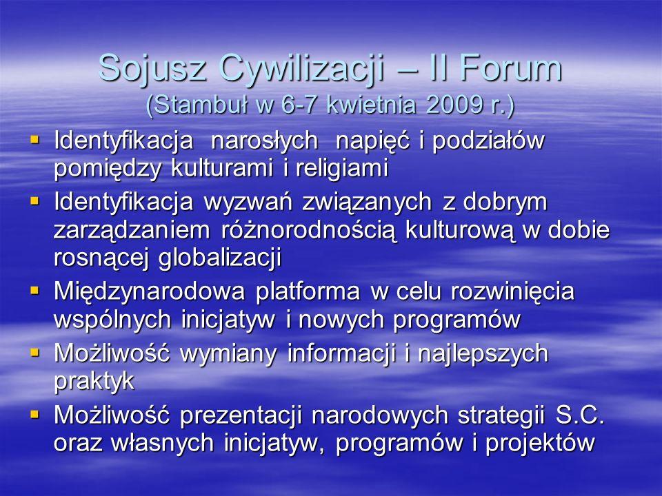 Sojusz Cywilizacji – II Forum (Stambuł w 6-7 kwietnia 2009 r.) Identyfikacja narosłych napięć i podziałów pomiędzy kulturami i religiami Identyfikacja
