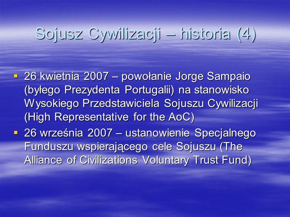 Sojusz Cywilizacji – historia (4) 26 kwietnia 2007 – powołanie Jorge Sampaio (byłego Prezydenta Portugalii) na stanowisko Wysokiego Przedstawiciela So