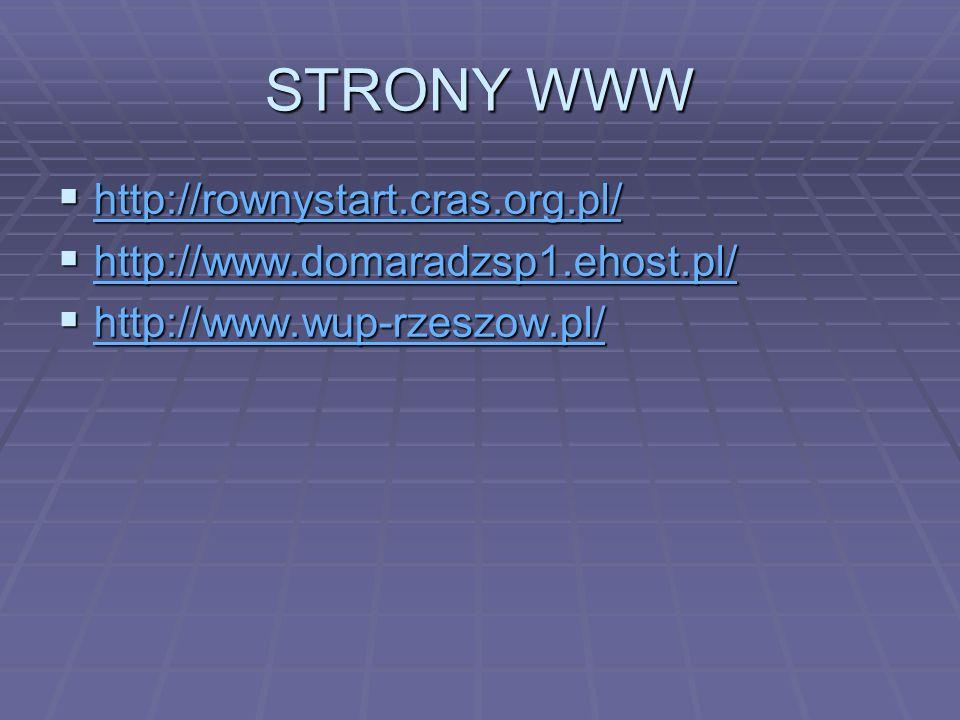 STRONY WWW http://rownystart.cras.org.pl/ http://rownystart.cras.org.pl/ http://rownystart.cras.org.pl/ http://www.domaradzsp1.ehost.pl/ http://www.do