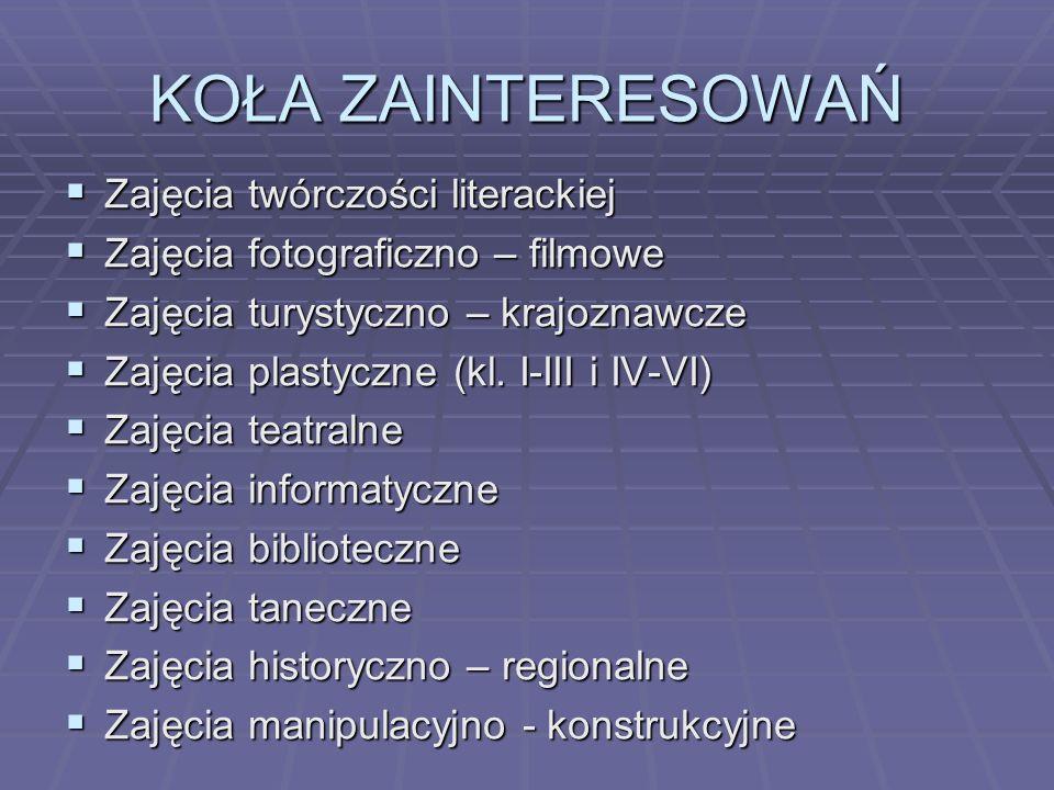 KOŁA ZAINTERESOWAŃ Zajęcia twórczości literackiej Zajęcia twórczości literackiej Zajęcia fotograficzno – filmowe Zajęcia fotograficzno – filmowe Zajęc