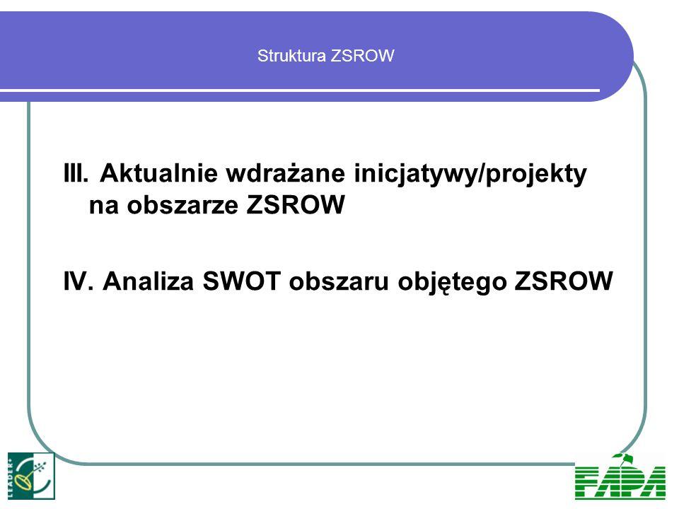 III. Aktualnie wdrażane inicjatywy/projekty na obszarze ZSROW IV. Analiza SWOT obszaru objętego ZSROW Struktura ZSROW