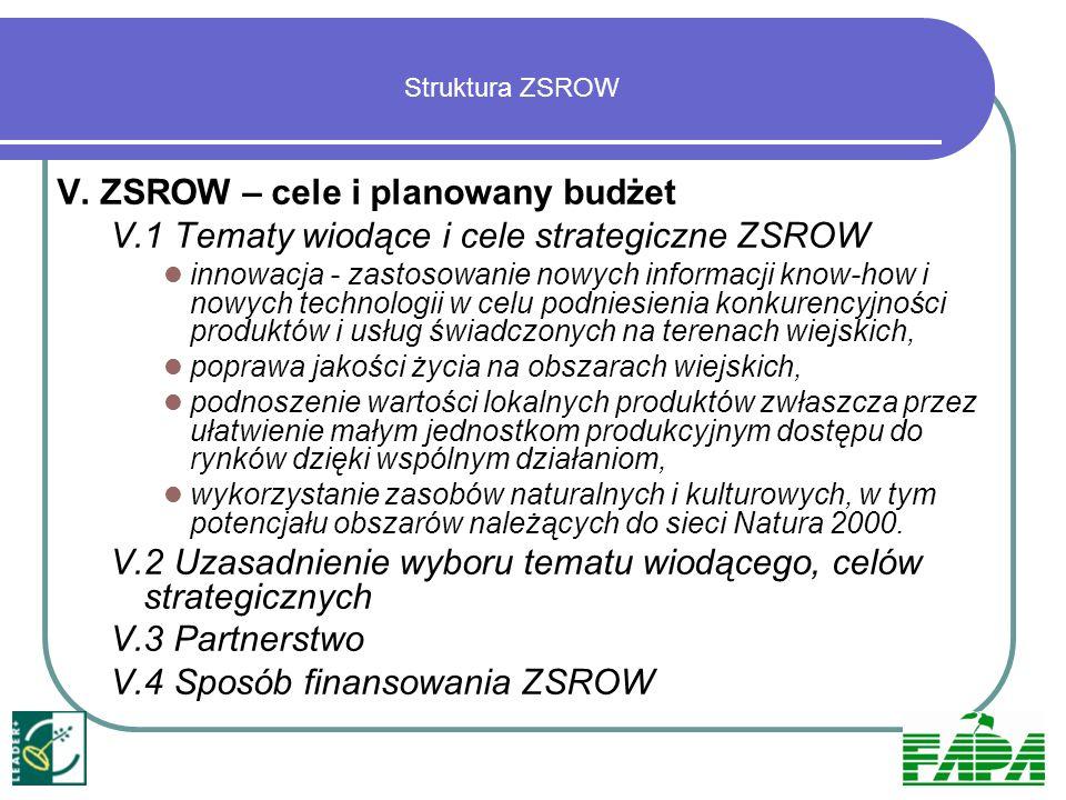 VI.Wpływ realizacji ZSROW na rozwój regionu VII.