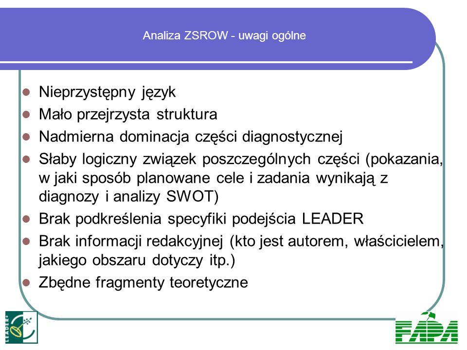 Analiza ZSROW – uwagi szczegółowe Brak informacji o składzie LGD (partnerach), reprezentatywności itp.