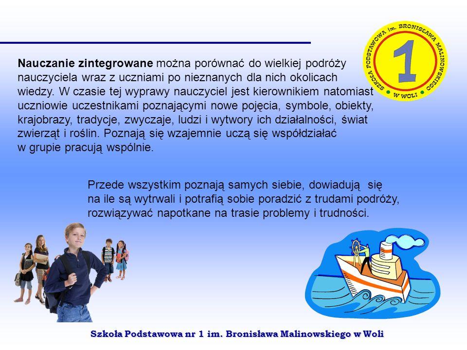 Szkoła Podstawowa nr 1 im. Bronisława Malinowskiego w Woli Nauczanie zintegrowane można porównać do wielkiej podróży nauczyciela wraz z uczniami po ni