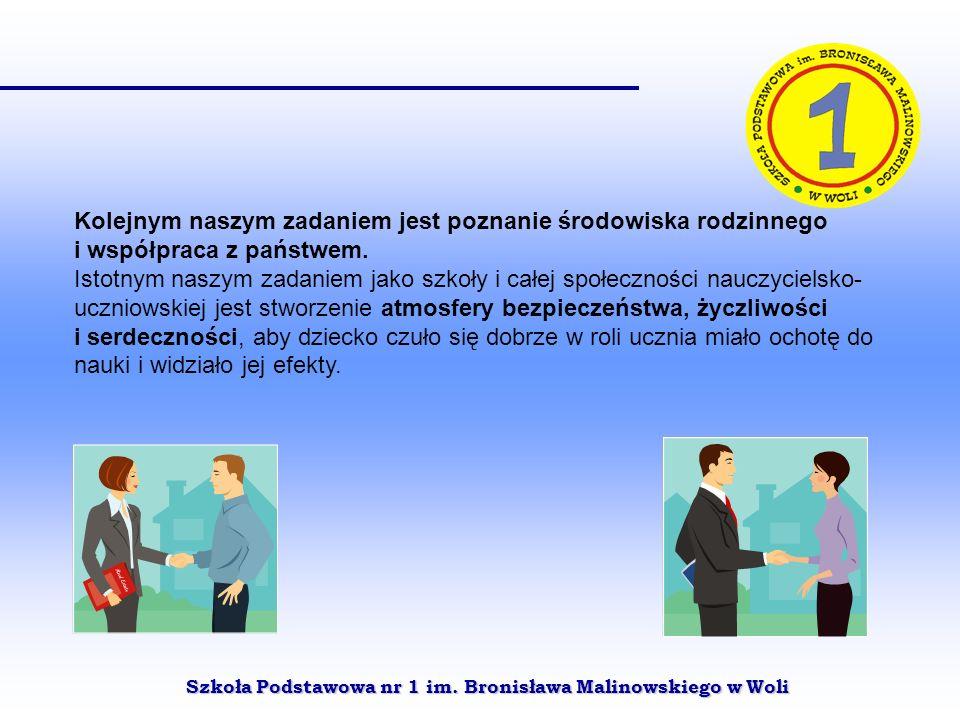 Szkoła Podstawowa nr 1 im. Bronisława Malinowskiego w Woli Kolejnym naszym zadaniem jest poznanie środowiska rodzinnego i współpraca z państwem. Istot