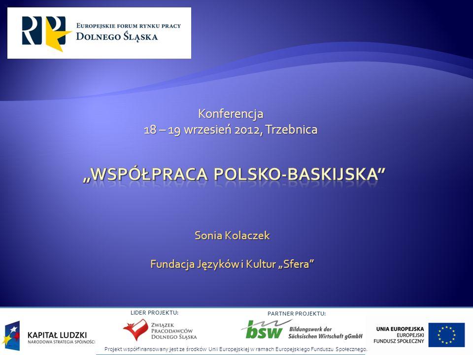 LIDER PROJEKTU: PARTNER PROJEKTU: Sonia Kolaczek Fundacja Języków i Kultur Sfera Konferencja 18 – 19 wrzesień 2012, Trzebnica