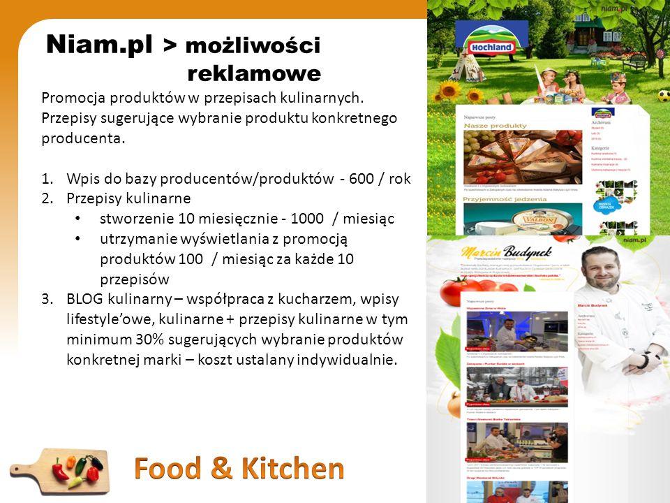 Niam.pl > możliwości reklamowe Promocja produktów w przepisach kulinarnych. Przepisy sugerujące wybranie produktu konkretnego producenta. 1.Wpis do ba