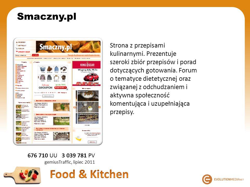 676 710 UU 3 039 781 PV gemiusTraffic, lipiec 2011 Smaczny.pl Strona z przepisami kulinarnymi. Prezentuje szeroki zbiór przepisów i porad dotyczących