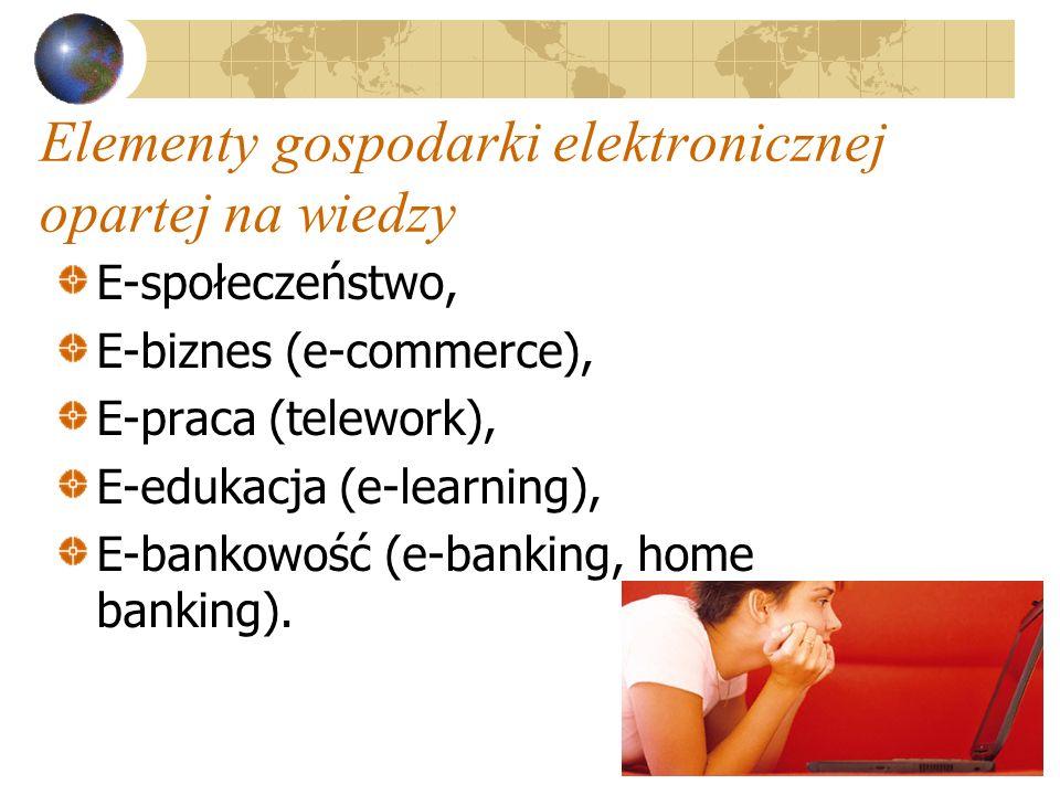 5 Elementy gospodarki elektronicznej opartej na wiedzy E-społeczeństwo, E-biznes (e-commerce), E-praca (telework), E-edukacja (e-learning), E-bankowość (e-banking, home banking).