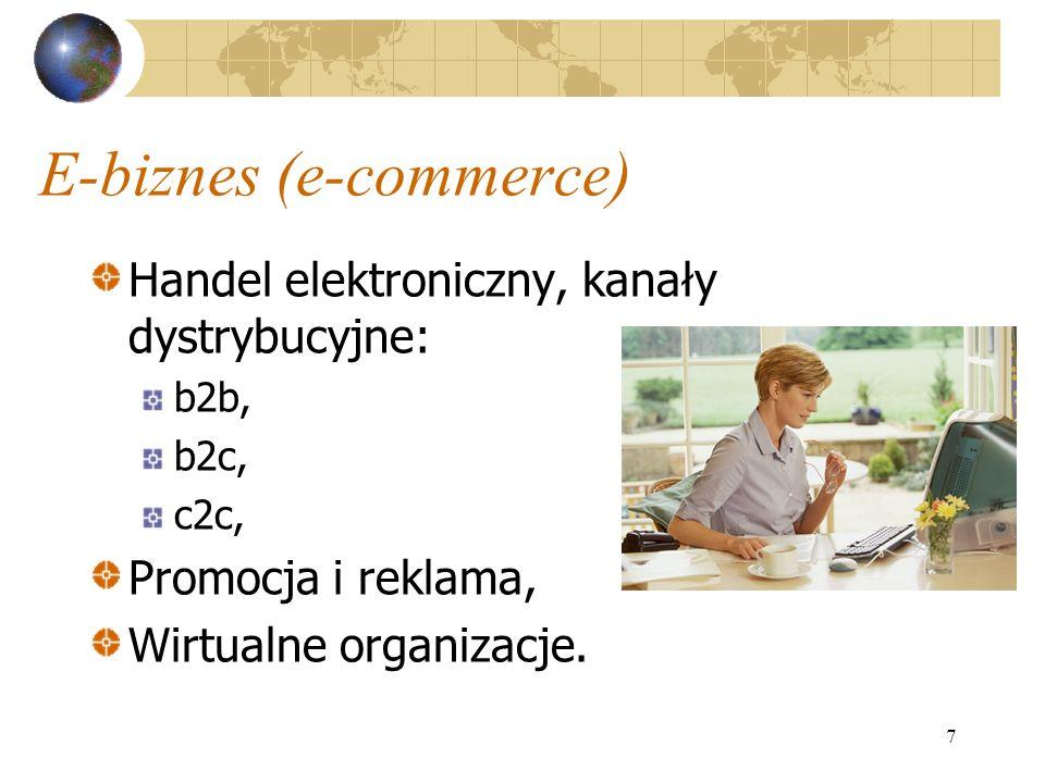 7 E-biznes (e-commerce) Handel elektroniczny, kanały dystrybucyjne: b2b, b2c, c2c, Promocja i reklama, Wirtualne organizacje.