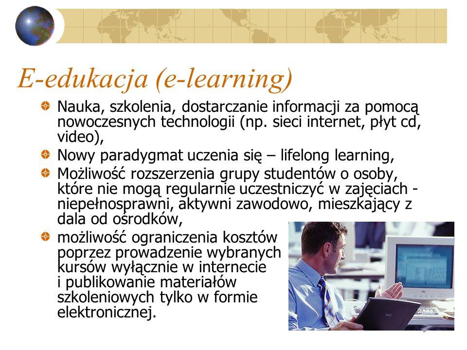 9 E-edukacja (e-learning) Nauka, szkolenia, dostarczanie informacji za pomocą nowoczesnych technologii (np.